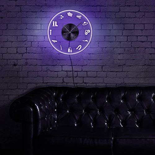 LittRur LED Rekord Wanduhr - Dekorieren Sie Ihr Zuhause mit modernen Geschenken für Männer und Frauen, Adult Shop Business Neon