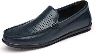 ZiWen Lu Classic Business Loafers for Men Genuine Leather Breathable Perforated Dating Party Dress Casual Boat Shoes Anti-Slip Flat Slip-on Vegan (Color : Blue, Size : 8.5 UK)