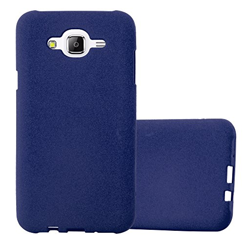 Preisvergleich Produktbild Cadorabo Hülle für Samsung Galaxy J7 2015 (5) - Hülle in Frost DUNKEL BLAU Handyhülle aus TPU Silikon im matten Frosted Design - Silikonhülle Schutzhülle Ultra Slim Soft Back Cover Case Bumper