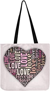 Valentines Valentine Heart Love Typography Canvas Tote Handbag Shoulder Bag Crossbody Bags Purses For Men And Women Shopping Tote