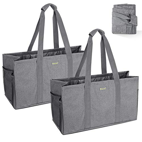 BALEINE Oversized SOFT Utility Tote with Reinforced Handles Eco Friendly Collapsible Foldable Washable Grocery Storage Bag Extra Storage For Phone Keys with Inner Side Pockets Gray