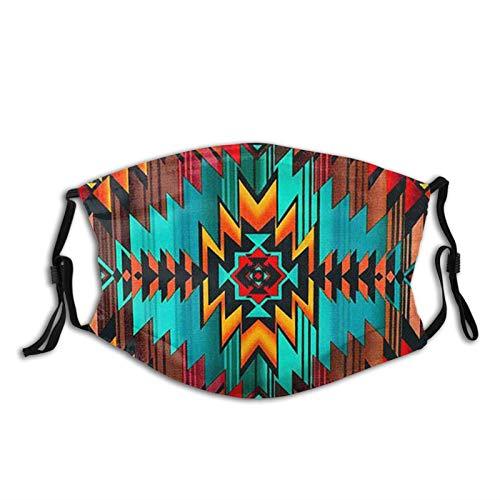 Native American Print Face Mask-Adjustable Ear Loops Reusable-With Filter Pocket-Unisex Balaclava Bandana Cloth