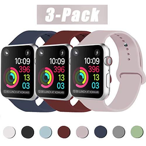 INZAKI Kompatibel mit Apple Watch Armband 38mm 40mm, Classic Sport Ersatzband aus weichem Silikon für Armband für iWatch Serie 5/4/3/2/1, Nike +, Sport, Edition, S/M, Sandrosa/Midnight Blue/Wine Red