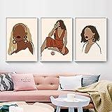 Lienzo Pinturas artísticas para pared Chica nórdica Planta Flores ilustración Carteles e impresiones Cuadros de pared para decoración de sala de estar 50x80cmx3pcs Sin marco