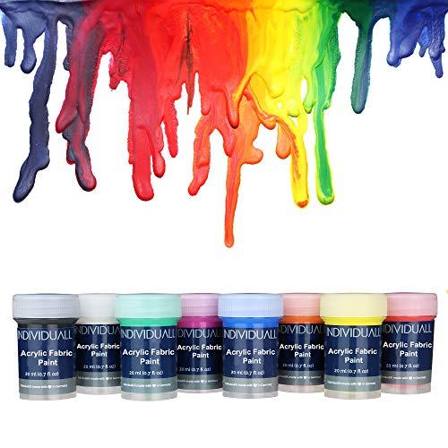 individuall Premium Textilfarben Set | 8 Waschfeste Stoffmalfarben | Farbe zum T-Shirt & Stoff bemalen | 8 x 20 ml Stofffarbe