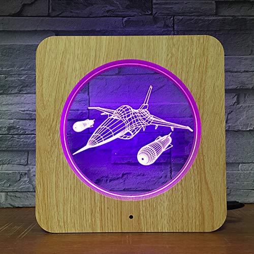 Bombardero 3D lámpara de mesa regalo para niños LED grano luz nocturna niños cumpleaños color regalo decoración del hogar talla de madera