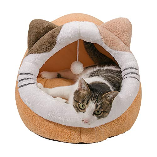 Qucey Cozy Cat Hut, Machine Washable Cat Enclosed Tent Cave House, Indoor Covered Cat Bed for Small Dogs, Puppy and Kitten Under 18lbs