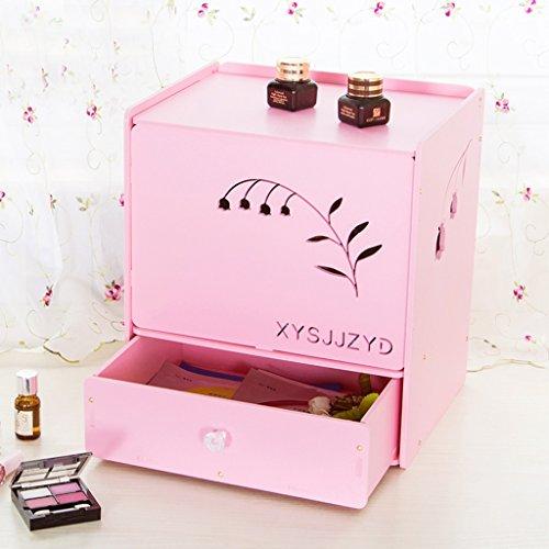 Boîte de Rangement de cosmétiques imperméables Corée Dust Clamshell Produits de Soins de la Peau européenne Stockage Boîte de Finition de Bureau avec Miroir DIY (Couleur : Rose)