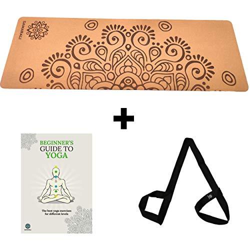 Samarali Moon Eclipse Cork und Naturkautschuk Yogamatte Umweltfreundliche rutschfeste Trainingsmatte 183x61x0,4 cm...