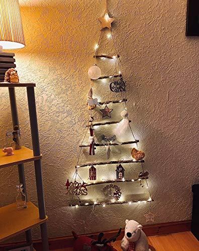 HomeZone LED Wooden Christmas Hanging Ladder Wall Tree with Lights & Decorations Rustic Unique Xmas Tree Lighting Wall Mountable Vintage Style Scandi Festive Decor (Large)