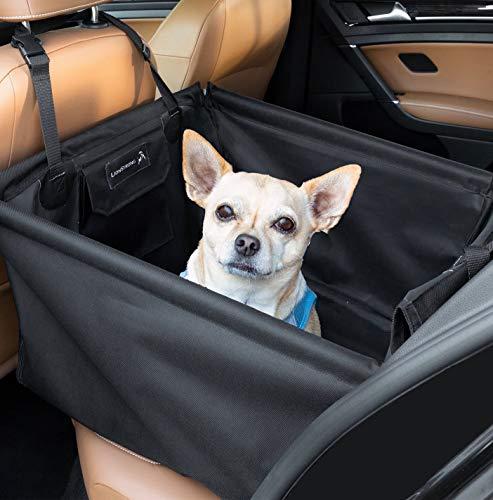 LIONSTRONG Hunde Autositz, kleine bis mittlere Hunde, Hundesitz wasserdicht, Hundedecke, Einzelsitz für die Rückbank +inkl Sicherheitsgurt für den Hund (Rücksitz)