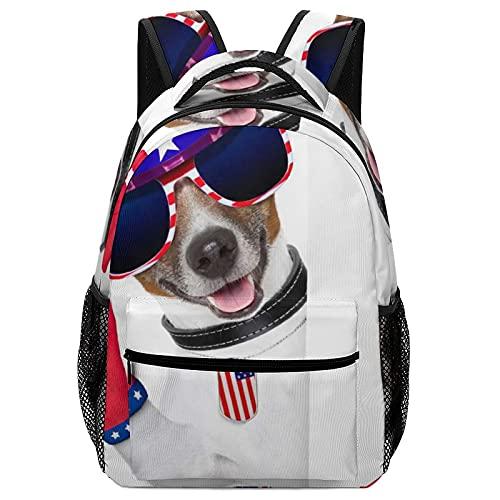 AIBILI Mochila infantil ligera para niños y niñas, con correa para el pecho, luces de energía pura, White-puppy With Glasses, Talla única