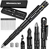 WEREWOLVES 6-in-1 EDC Tactical Pen - Flashlight, Ballpoint, Bottle Opener, Screw Driver, Hexagonal Wrench,12 Ink Refills, 9 Batteries, Gift Box, for Camping,Survival Gadgets (Black-Box)