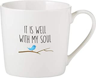 CB Gift SIPS Drinkware Bone China Café Mug/Cup White, 14-Ounces, It is It is Well