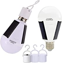 Flyhoom 2 Pack Portable Solar Bulb Light Outdoor Rechargeable Emergency Light Bulb for Power Outage Shed Barn, Camping Tent Light Bulb (AC 400LM/ DC 130LM)