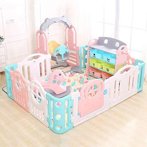 ZHAS KidSafety Play Center Yard Baby Game Box con caballo balancín / columpio / estantería de almacenamiento, Play Center Yard para el mejor regalo del bebé (150 x 200 cm)
