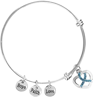 Fundraising For A Cause Ovarian Cancer Awareness Teal Ribbon Retractable Charm Bracelet in a Gift Box