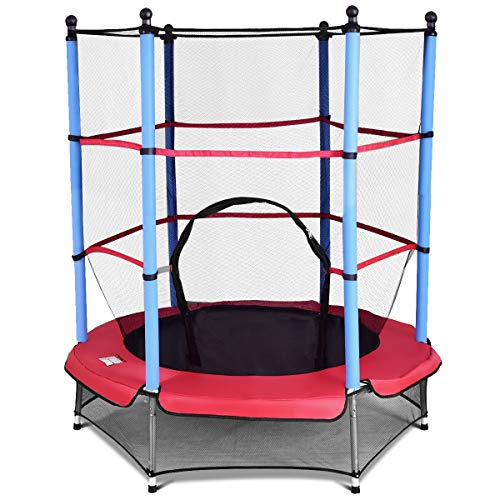 GOPLUS Trampolin Gartentrampolin Outdoor Indoor Trampolin Kindertrampolin Sprungmatte mit Sicherheitsnetz 160cm Farbwahl (Blau)