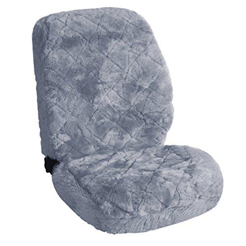 WOLTU AS7334sb Lammfellbezug Auto Sitzbezug Echtlammfell Vollbezug Vordersitzbezug universal Größe, Feste Wolle, ca. 1.8 cm Dicke, Silber