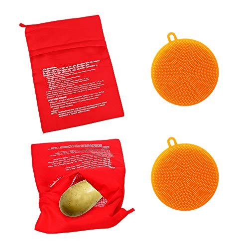 Roucerlin - Bolsa de cocina reutilizable para microondas, lavable, para cocinar maíz horneado, limpiador de verduras de silicona para colgar(naranja)