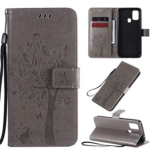 Zchen für Galaxy M31 Hülle, Kunstleder Portemonnaie Handy-Schutzhülle Book Flip Design Klapphülle Etui Tasche für Samsung Galaxy M31 (Katze-Grau)
