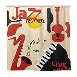 DYCBNESS Duschvorhang,Jazz Music Festival Poster Instrumente Saxophon,Vorhang Waschbar Langhaltig Hochwertig Bad Vorhang Polyester Stoff Wasserdichtes Design,mit Haken 180x180cm