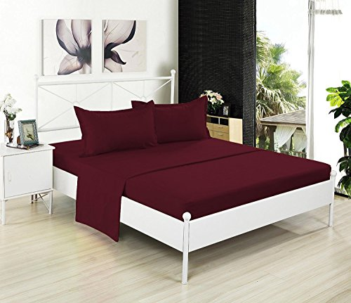 Crescent Bedding Full Flat Sheet Only - Soft & Comfy 100% Cotton (Full, Burgundy)