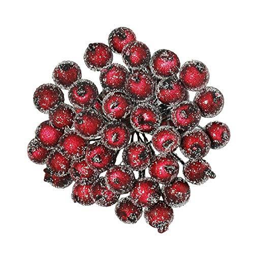 EKKONG Künstliche Rote Beeren, Mini Rot Holly Beeren, Gefrostete Beeren, Beeren Deko für Weihnachten Dekoration (Dunkelrot, 400pcs)