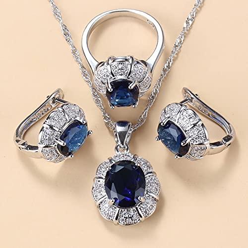 yuge 925 plata esterlina collar y pendientes conjuntos de joyería para las mujeres Accesorios de moda verde circón encanto pulsera y anillo conjuntos 6 Blue3PCS