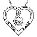 LOVORDS Collar Mujer Grabado Plata de Ley 925 Colgante Corazón Infinito Regalo Madre Mamá