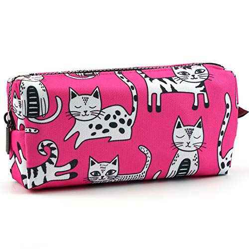 Pink Cat Pencil Case Makeup Bag Cat Lover Gift Crazy Cat Lady Toiletry Case Pouch Gifts for Teens Cosmetic Bag Kawaii Box Stationary Gadget Bag