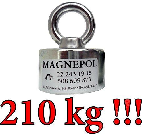 MAGNEPOL Magnethalter mit rundem Neodym-Magnet und Augbolzen N42 | 210 kg Zugkraft, Durchmesser 60 mm | Schatzjäger