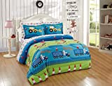 Kids Collection Twin Size Comforter And Sheet Set Crane Traffic Cones Dig Dump Trucks Bulldozer Construction Traffic Blue Green Kids New # Crane