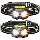 Rechargeable Headlamp, Bright 1000 Lumen Headlight with Motion Sensor IPX5 Waterproof USB Rechargeable Flashlight for Adults Running Camping Hiking Fishing (2 Pack)