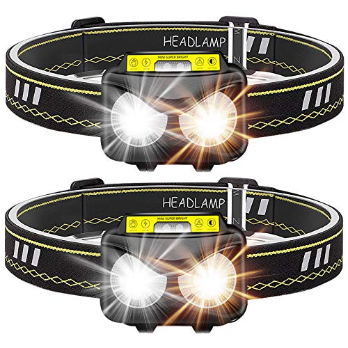 Rechargeable Headlamp, Bright 1000 lumen Headlight with Motion Sensor IPX5 Waterproof USB Rechargeable flashlight for Kids Adults Running Camping Hiking Fishing (2 Pack)