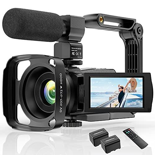 Video Camera Camcorder 4K YouTube Camera Night Vision Camcorder Vlogging Camera 16X Digital Camera Vlog Video Camera Camcorder with Remote, Microphone, Lens Hood and 2 Batteries