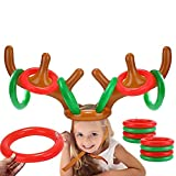 LEEFENGQI [2 Pack] Inflatable Reindeer Antler Ring Toss Game, Christmas Party Games for Kids, Funny Gifts Stocking Stuffers for Adults, Pin The Nose on Rudolph Game, Family & Office Party Favors