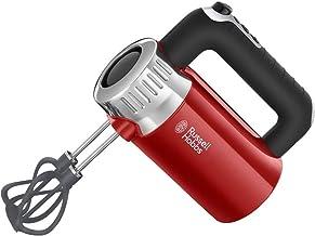 Russell Hobbs Handmixer Retro Ribbon rot, 500W, 4 Geschwindigkeitsstufen plus Turbofunktion, 2 Helix-Rührbesen aus glasfaserverstärktem Nylon, 2 Knethaken, Handrührer 25200-56