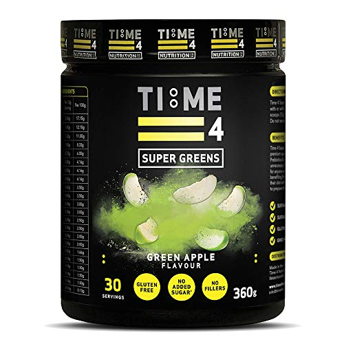 Time 4 Super Greens – 30 Days Supply Greens Supplement - A Blend of Super Greens Powder & Super Foods, Prebiotics & Probiotics - Vegetable Powder – Supergreens Powders