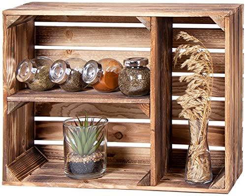 LAUBLUST Gewürzregal Holz Vintage - ca. 50 x 17 x 40 cm, Holzregal Geflammt | Küchenregal Querformat 2 Regalböden