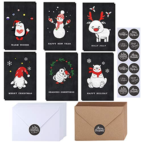 150 Sets Christmas Cards with Envelopes Stickers Assortment Bulk 6 Designs Blank Vintage Santa Claus Reindeer Polar Bear Chalkboard Merry Christmas Greeting Cards 4 x 6 for Christmas New Year Winter