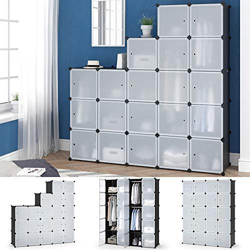 Vicco Kleiderschrank mit Kleiderstange modular DIY Regalsystem aus Kunststoff mit Türen Garderobe (145 x 180 x 47 cm)