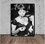 Jindongya Wandkunst Sophia Loren Poster Foto Mode Kunst