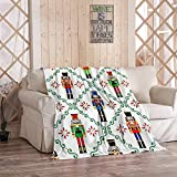MOOTFAY Christmas Nutcrackers Throw Blanket, Xmas Soldier Figurine Festive Holidays Decotion Flannel Lightweight Cozy Soft Plush Blanket for Bed/Couch/Sofa/Office/Camping, 40 x 50 Inches