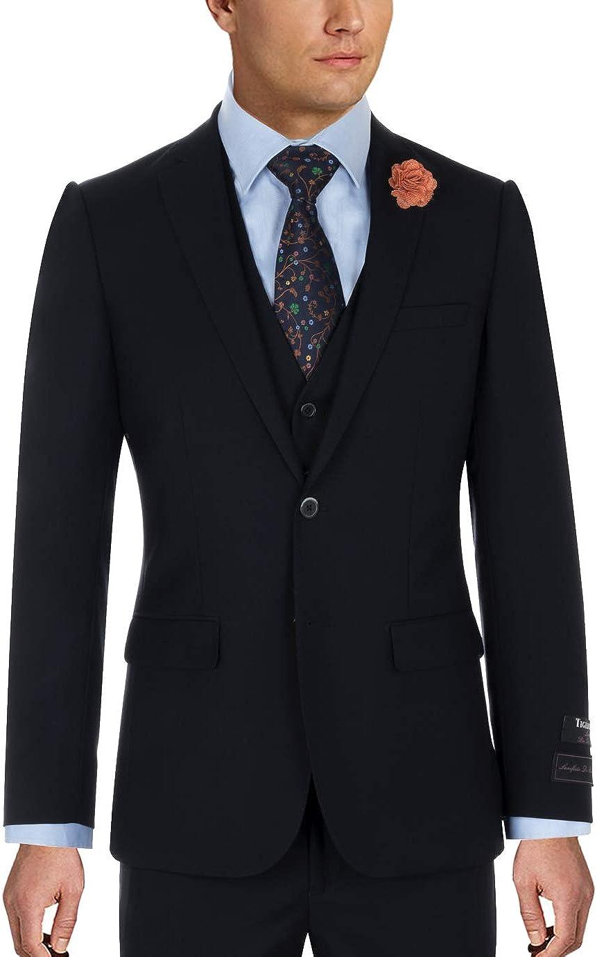 Tiglio Sienna Navy Blue Slim Fit Suit & Vest TIG1002