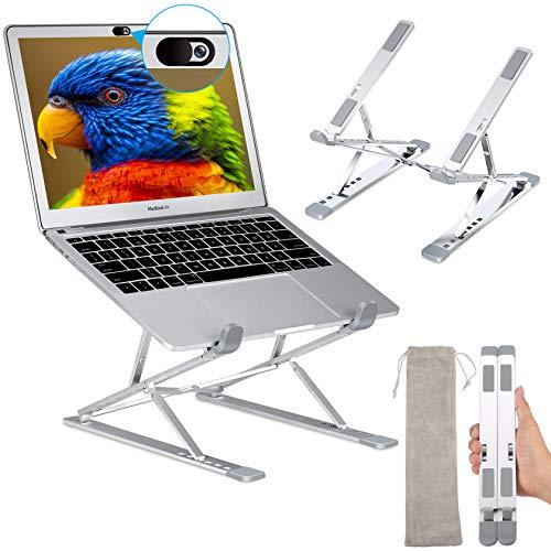 """Laptop Ständer höhenverstellbar, Faltbar Aluminium Laptop Stand Halterung, Tragbar Belüfteter Notebook Ständer, Kompatibel mit MacBook Pro Air,Dell, 10-15,6 """" Laptops Tablet, iPAD,Phones, Silber"""