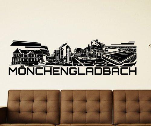 Wandtattoo Mönchengladbach Skyline Aufkleber Stadt Wandbild Deutschland 1M508, Farbe:DunkelRot glanz;Skyline Länge:57cm