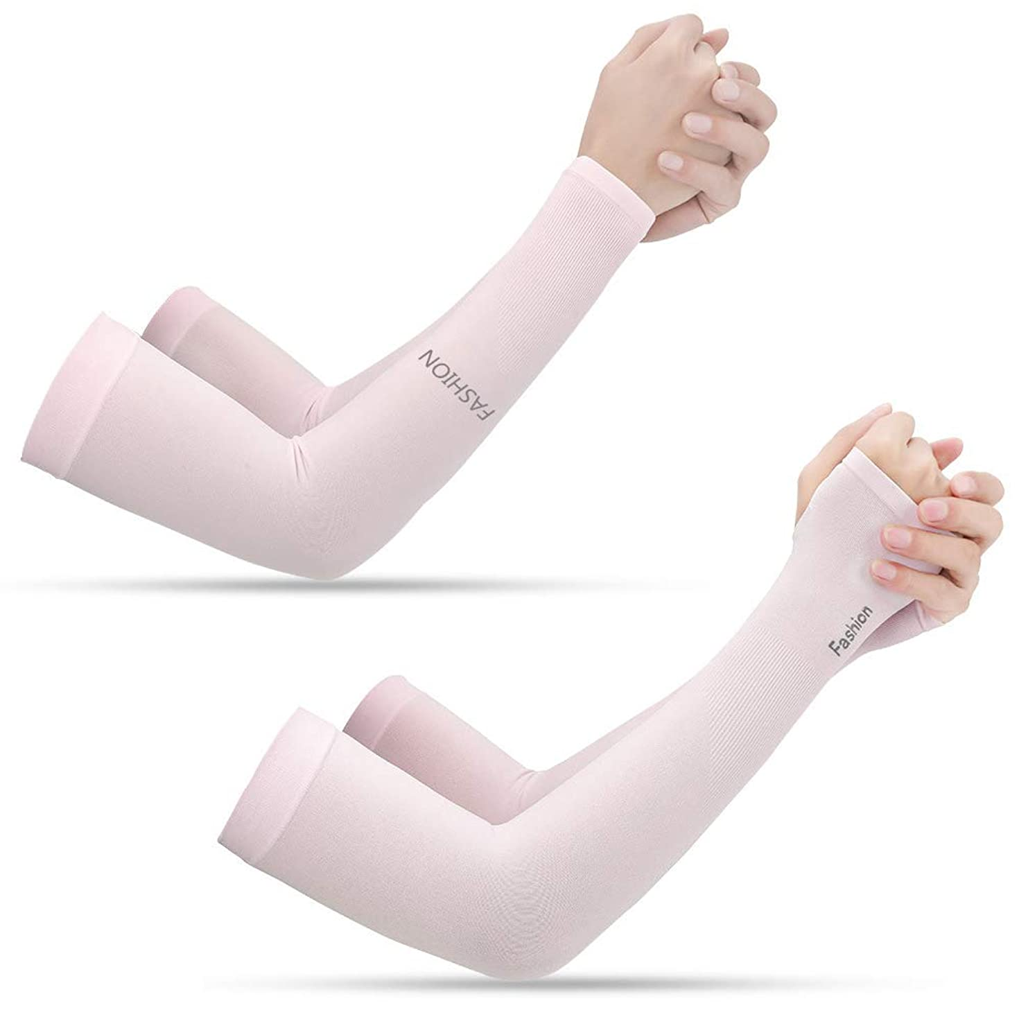 2 Pairs Unisex Arm Sleeves UV Sun Protection Cooling Sleeves for Driving Jogging Golfing Riding Outdoor Activities (Pink)