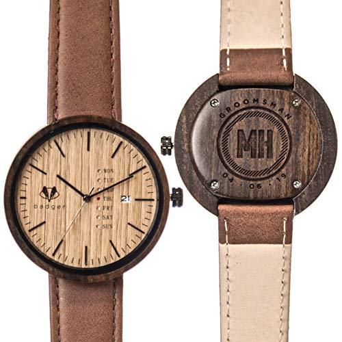 Swanky Badger Personalized Groomsman Gift Wooden Watch, Real Sandalwood Case, Genuine Brown Leather Strap, Japanese Quartz Movement, Customized Wood Watch, 43mm Diameter (Sandalwood Modern)