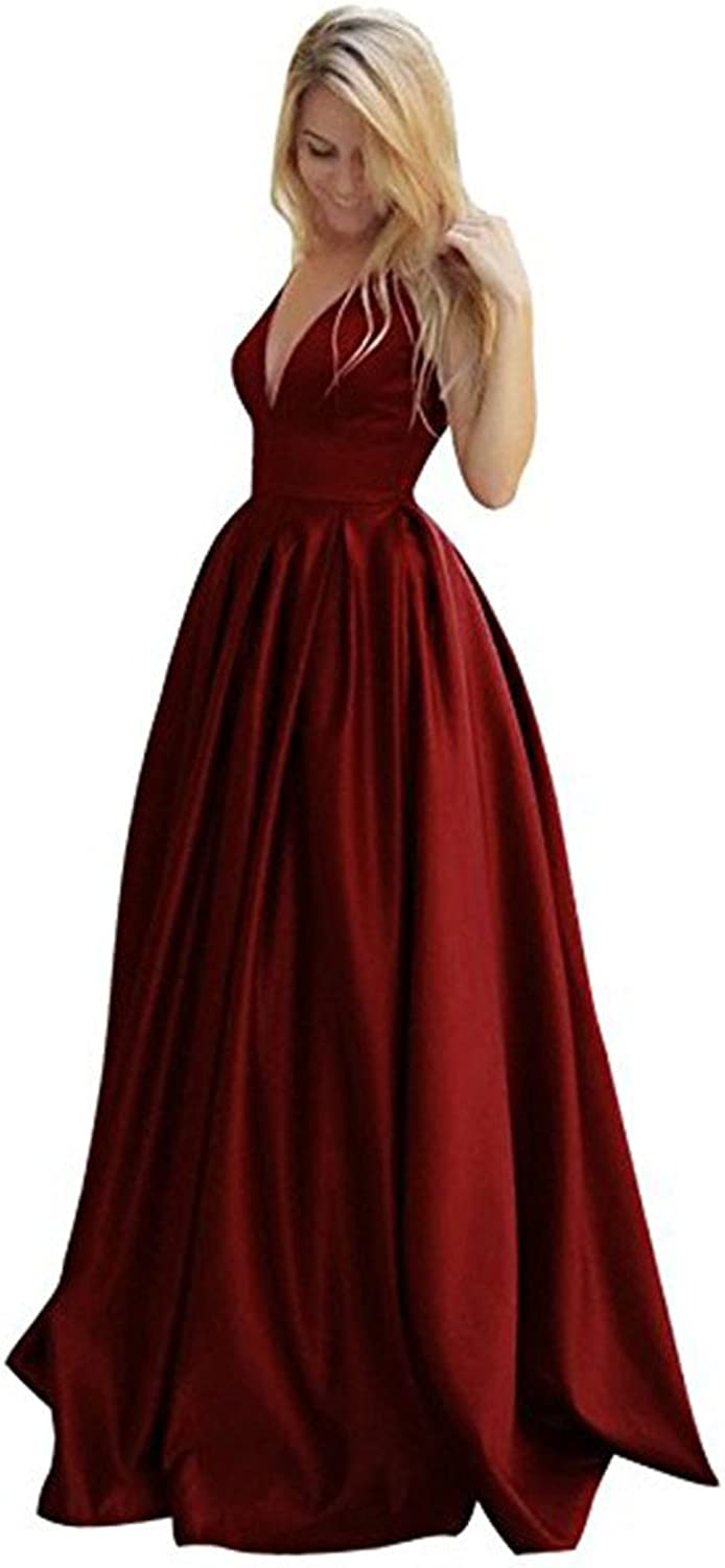Chenghouse ALine Prom Dresses VNeck Satin Evening Party Gowns